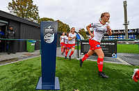 illustration picture showing Essevee's Lotte De Wilde passing the Scooore Super League ball holder with logo during a female soccer game between Club Brugge Dames YLA and Zulte Waregem Ladies on the third matchday of the 2020 - 2021 season of Belgian Scooore Womens Super League , saturday 3 October 2020  in Brugge , Belgium . PHOTO SPORTPIX.BE | SPP | DAVID CATRY