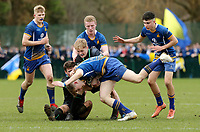 Wednesday 20th March 2019 | 2019 Schools Shield Final<br /> <br /> Conor Lusty stacked by Jack Crishop during the 2019 Ulster Schools Cup Final between Sullivan and Bangor Grammar at The Dub Arena, Queens University, Belfast, Northern Ireland. Photo by John Dickson / DICKSONDIGITAL