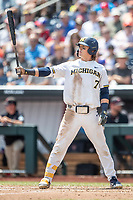 Michigan Wolverines outfielder Jesse Franklin (7) at bat during Game 11 of the NCAA College World Series against the Texas Tech Red Raiders on June 21, 2019 at TD Ameritrade Park in Omaha, Nebraska. Michigan defeated Texas Tech 15-3 and is headed to the CWS Finals. (Andrew Woolley/Four Seam Images)