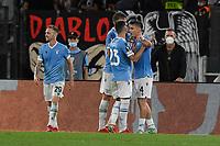 30th September 2021;  Stadio Olimpico, Rome, Italy;Europa League Football, SS Lazio versus Lokomotiv Moscow: Patric of SS Lazio celebrates after scoring the goal for 2-0