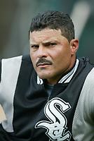 John Valentin Chicago White Sox during a 2003 season MLB game at Angel Stadium in Anaheim, California. (Larry Goren/Four Seam Images)