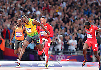 August 05, 2012..Usain Bolt above the finish line on his way to win Men's 100m Final by setting a new Olympic record on day nine of 2012 Olympic Games in London, United Kingdom.