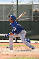 Leury Garcia of the Texas Rangers  plays in a minor league spring training game against the Kansas City Royals at the Rangers complex on March 22, 2011  in Surprise, Arizona. .Photo by:  Bill Mitchell/Four Seam Images.