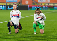 BREDA, NETHERLANDS - NOVEMBER 27: Becky Sauerbrunn #4 and Alyssa Naeher #1 of the USWNT line up for the national anthem before a game between Netherlands and USWNT at Rat Verlegh Stadion on November 27, 2020 in Breda, Netherlands.