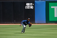 Lakeland Flying Tigers center fielder Daz Cameron (25) dives to make a catch during a game against the Dunedin Blue Jays on May 27, 2018 at Dunedin Stadium in Dunedin, Florida.  Lakeland defeated Dunedin 2-1.  (Mike Janes/Four Seam Images)