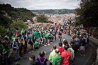 Peter Stetina (USA/Trek-Segafredo) up the brutal (last climb) Alto de Arraiz (up to 25% gradients!), above Bilbao, 7km from the finish <br /> <br /> Stage 12: Circuito de Navarra to Bilbao (171km)<br /> La Vuelta 2019<br /> <br /> ©kramon