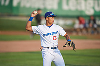 Marcus Chiu (13) of the Ogden Raptors during a game against the Great Falls Voyagers at Lindquist Field on August 22, 2018 in Ogden, Utah. Great Falls defeated Ogden 3-1. (Stephen Smith/Four Seam Images)