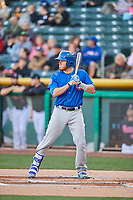 Victor Caratini (17) of the Iowa Cubs bats against the Salt Lake Bees in Pacific Coast League action at Smith's Ballpark on May 13, 2017 in Salt Lake City, Utah. Salt Lake defeated Iowa  5-4. (Stephen Smith/Four Seam Images)