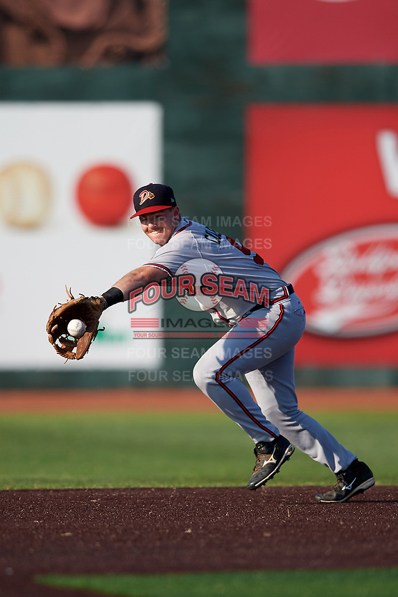 Danville Braves second baseman Greg Cullen (9) fields a ground ball during a game against the Johnson City Cardinals on July 29, 2018 at TVA Credit Union Ballpark in Johnson City, Tennessee.  Johnson City defeated Danville 8-1.  (Mike Janes/Four Seam Images)