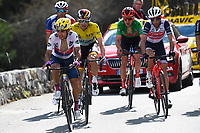 14th March 2020, Paris to Nice cycling tour, final day, stage 7;  HIGUITA GARCIA Sergio Andres (COL) of EF PRO CYCLING, SCHACHMANN Maximilian (GER) of BORA - HANSGROHE, NIBALI Vincenzo (ITA) of TREK - SEGAFREDO, BENOOT Tiesj (BEL) of TEAM SUNWEB and PINOT Thibaut (FRA) of GROUPAMA - FDJ pictured during stage 7 of the 78th edition of the Paris - Nice cycling race, a stage of 166,5km with start in Nice and finish in Valdeblore La Colmiane on March 14, 2020 in Valdeblore La Colmiane, France