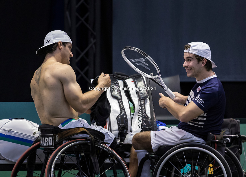 Rotterdam, The Netherlands, 5 march  2021, ABNAMRO World Tennis Tournament, Ahoy,  Quarter final wheelchair: Martin de la Puente (ESP) / Gustavo Fernandez (ARG). <br /> Photo: www.tennisimages.com/henkkoster