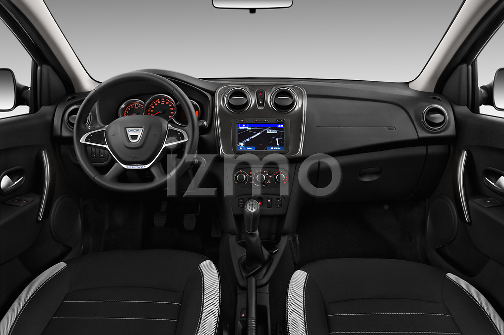 Stock photo of straight dashboard view of 2017 Dacia Sandero Stepway 5 Door Hatchback Dashboard