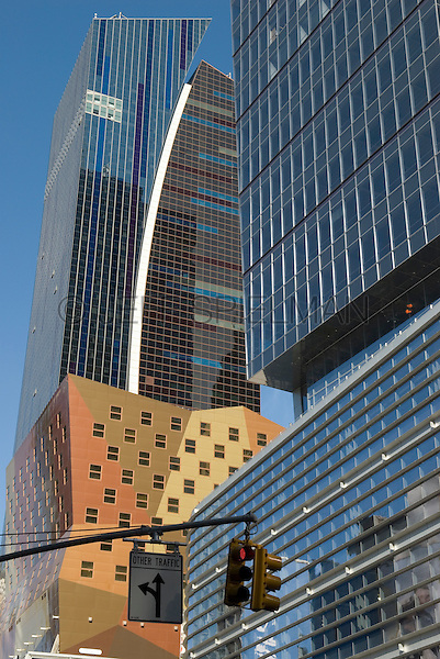Modern Architecture on 42nd Street and 8th Avenue in Midtown Manhattan, New York City, New York State, USA..<br /> <br /> The building on the left side of the photo is the Westin New York at Times Square Hotel, designed by the architectural firm of Arquitectonica.  <br /> <br /> Available for editorial licensing but not for advertising/promotion because the building is not property released.