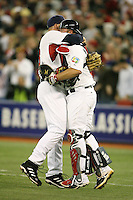 March 7, 2009:  Pitcher JJ Putz (23) of Team USA celebrates with catcher Brian McCann after saving a win during the first round of the World Baseball Classic at the Rogers Centre in Toronto, Ontario, Canada.  Team USA defeated Canada 6-5 in both teams opening game of the tournament.  Photo by:  Mike Janes/Four Seam Images