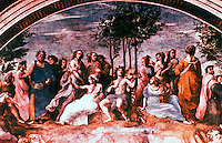 """Vatican:  Raphael's Rooms--""""Parnassus"""" , a fresco by Raphael in one of the reception rooms (Segnatura)  in the Palace of Vatican."""