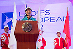 Liu Xi Yu speaks during the Opening Ceremony of the World Ladies Championship 2016 on 09 March 2016 at Mission Hills Olazabal Golf Course in Dongguan, China. Photo by Victor Fraile / Power Sport Images