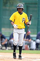 GCL Pirates second baseman Jodaneli Carajal #5 at bat during a game against the GCL Braves at Disney Wide World of Sports on June 25, 2011 in Kissimmee, Florida.  The Pirates defeated the Braves 5-4 in ten innings.  (Mike Janes/Four Seam Images)