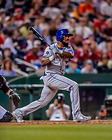 21 September 2018: New York Mets infielder Jose Reyes pinch hits in the 9th inning against the Washington Nationals at Nationals Park in Washington, DC. The Mets defeated the Nationals 4-2 in the second game of their 4-game series. Mandatory Credit: Ed Wolfstein Photo *** RAW (NEF) Image File Available ***