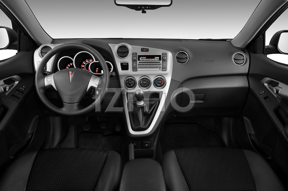 Straight dashboard view of a 2009 Pontiac Vibe GT.