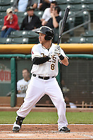Taylor Lindsey (8) of the Salt Lake Bees at bat against the Reno Aces at Smith's Ballpark on May 4, 2014 in Salt Lake City, Utah.  (Stephen Smith/Four Seam Images)