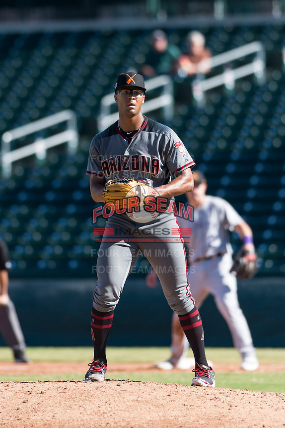 Salt River Rafters starting pitcher Jon Duplantier (31), of the Arizona Diamondbacks organization, gets ready to deliver a pitch during an Arizona Fall League game against the Mesa Solar Sox at Sloan Park on October 30, 2018 in Mesa, Arizona. Salt River defeated Mesa 14-4 . (Zachary Lucy/Four Seam Images)