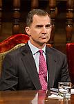 Spanish king, Felipe VI durign the Quevedos iberoamerican award of grafic humor 2014. May 26,2016. (ALTERPHOTOS/Rodrigo Jimenez)
