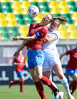 20190301 - LARNACA , CYPRUS : Finnish Elli Pikkujamsa (r) pictured in a duel with Czech Lucie Vonkova (left) during a women's soccer game between Finland and Czech Republic , on Friday 1 March 2019 at the AEK Arena in Larnaca , Cyprus . This is the second game in group A for Both teams during the Cyprus Womens Cup 2019 , a prestigious women soccer tournament as a preparation on the Uefa Women's Euro 2021 qualification duels. PHOTO SPORTPIX.BE   DAVID CATRY