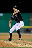 Batavia Muckdogs relief pitcher Evan Brabrand (41) during a NY-Penn League game against the State College Spikes on July 1, 2019 at Dwyer Stadium in Batavia, New York.  Batavia defeated State College 5-4.  (Mike Janes/Four Seam Images)