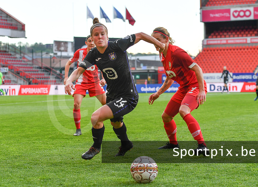 Laura Deloose (14) of Anderlecht pictured with Sylke Calleeuw (9) of Standard  during a female soccer game between Standard Femina de Liege and RSC Anderlecht on the 8th matchday in play off 1 of the 2020 - 2021 season of Belgian Scooore Womens Super League , tuesday 18 th of May 2021  in Angleur , Belgium . PHOTO SPORTPIX.BE | SPP | DAVID CATRY