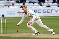 Simon Harmer of Essex stoops to field the ball during Essex CCC vs Middlesex CCC, Specsavers County Championship Division 1 Cricket at The Cloudfm County Ground on 29th June 2017
