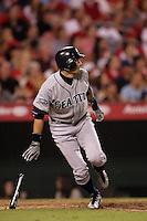 Seattle Mariners outfielder Ichiro Suzuki #51 bats against the Los Angeles Angels at Angel Stadium on July 9, 2011 in Anaheim,California. (Larry Goren/Four Seam Images)