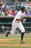 Charleston RiverDogs infielder Allen Valerio (20) during a game against the Augusta GreenJackets at Joseph P.Riley Jr. Ballpark on April 15, 2015 in Charleston, South Carolina. Charleston defeated Augusta 8-0. (Robert Gurganus/Four Seam Images)