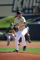UCF Knights starting pitcher Nick McCoy (28) delivers a pitch during a game against the Siena Saints on February 21, 2016 at Jay Bergman Field in Orlando, Florida.  UCF defeated Siena 11-2.  (Mike Janes/Four Seam Images)
