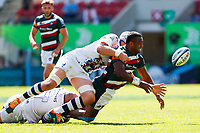 5th June 2021; Mattioli Woods Welford Road Stadium, Leicester, Midlands, England; Gallagher Premiership Rugby, Leicester Tigers versus Bristol Bears; Kini Murimurivalu of Leicester Tigers offloads in the tackle