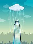 Illustrative image of rain on tower representing cloud computing