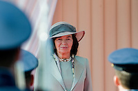 Livia Klausova, the wife of the Czech President Vaclav Klaus, watches the Castle Guard during the welcome ceremony upon the Pope Benedict XVI's arrival at the Prague Airport, Czech Republic, 26 September 2009.