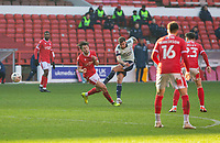 9th January 2021; City Ground, Nottinghamshire, Midlands, England; English FA Cup Football, Nottingham Forest versus Cardiff City; Joe Ralls of Cardiff City takes a shot at goal past Harry Arter of Nottingham Forest