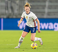 ORLANDO, FL - JANUARY 22: Samantha Mewis #3 of the USWNT dribbles during a game between Colombia and USWNT at Exploria stadium on January 22, 2021 in Orlando, Florida.