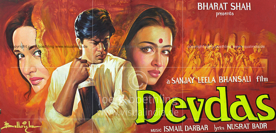 INDIA, Mumbai, Bombay, Bollywood cinema, Balkrishna Arts, hand painted movie poster, film poster Devdas