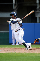 Princeton Rays third baseman Osmy Gregorio (3) follows through on a swing during the first game of a doubleheader against the Greeneville Reds on July 25, 2018 at Hunnicutt Field in Princeton, West Virginia.  Princeton defeated Greeneville 6-4.  (Mike Janes/Four Seam Images)