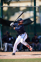 Atlanta Braves Jefrey Ramos (8) at bat during an Instructional League game against the Detroit Tigers on October 10, 2017 at the ESPN Wide World of Sports Complex in Orlando, Florida.  (Mike Janes/Four Seam Images)