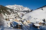 Oesterreich, Salzburger Land, Dienten: Wintersportregion vorm Hochkoenig | Austria, Salzburger Land, Dienten: wintersport resort, Hochkoenig mountains