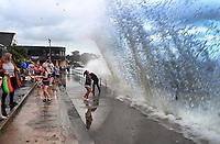 2020 08 21 Waves crash against the promenade wall in Saundersfoot, Wales, UK.