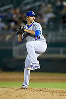 South Bend Cubs relief pitcher Ben Hecht (29) in action against the Lansing Lugnuts at Cooley Law School Stadium on June 15, 2018 in Lansing, Michigan. The Lugnuts defeated the Cubs 6-4.  (Brian Westerholt/Four Seam Images)