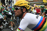 World Champion Mark Cavendish (GBR) Sky Procycling crosses the finish line at the end of Stage 3 of the 99th edition of the Tour de France 2012, running 197km from Orchies to Boulogne-sur-Mere, France. 3rd July 2012.<br /> (Photo by Eoin Clarke/NEWSFILE)