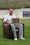 """Darren Fichardt was asked by Ballantine's at the BMW Masters to describe how he stays true to himself; his answer is shown. Ballantine's, who recently announced their new global marketing campaign, """"Stay True, Leave An Impression"""", is a sponsor at the BMW Masters, which takes place from the 24-27 October at Lake Malaren Golf Club in Shanghai.  Photo by Andy Jones / The Power of Sport Images for Ballantines."""