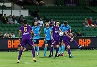 24th March 2021; HBF Park, Perth, Western Australia, Australia; A League Football, Perth Glory versus Sydney FC;  A crowded penalty box as the ball comes in from a corner kick