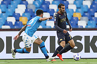 Elseid Hysaj of SSC Napoli and Davide Zappacosta of Genoa CFC compete for the ball<br /> during the Serie A football match between SSC Napoli and Genoa CFC at stadio San Paolo in Napoli (Italy), September 27, 2020. <br /> Photo Cesare Purini / Insidefoto