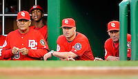 21 June 2008: Washington Nationals' coaches (left to right) Pat Corrales, Manny Acta and Randy St. Claire watch play against the Texas Rangers at Nationals Park in Washington, DC. The Rangers defeated the Nationals 13-3 in the second game of their 3-game inter-league series...Mandatory Photo Credit: Ed Wolfstein Photo