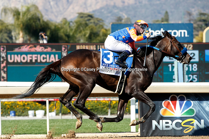 ARCADIA, CA  APRIL 3:  #3 Rock Your World, ridden by Umberto Rispoli, in the stretch of the Santa Anita Derby (Grade l) on April 3, 2021 at Santa Anita Park, in Arcadia, CA.(Photo by Casey Pnillips/ Eclipse Sportswire/ CSM)
